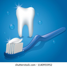 illustration of healthy tooth with toothbrush and toothpaste