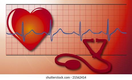 illustration of heart, cardiogram, equipment
