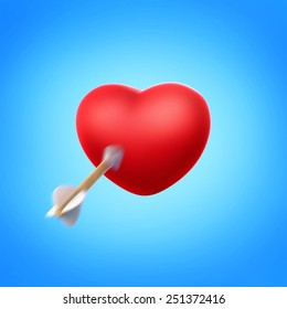 Illustration of heart with flying arrow.