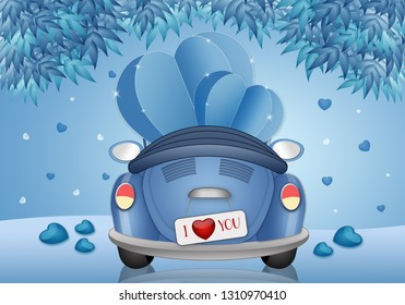 illustration of heart in funny car