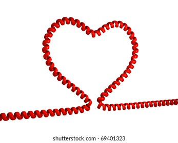 Illustration of heart made from phone cord