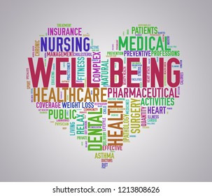 Illustration of heart shape health care wordcloud tags showing concept of well being