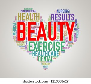 Illustration of heart shape health care wordcloud tags showing concept of beauty