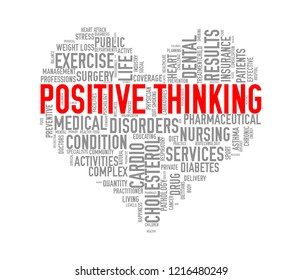 Illustration of heart shape health care wordcloud tags showing concept of positive thinking