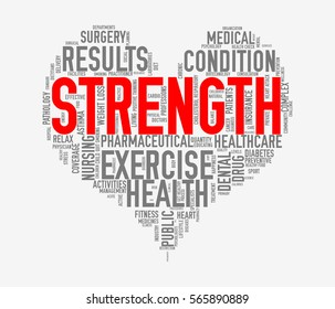 Illustration of heart shape health care wordcloud tags showing concept of strength