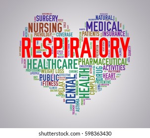 Illustration of heart shape health care wordcloud tags showing concept of respiratory