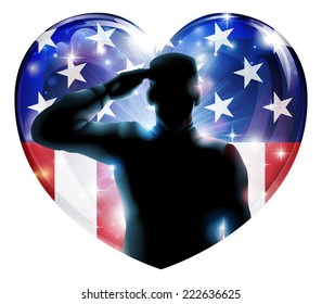 Illustration of a heart shape Veterans Day or 4th July Independence Day of a soldier saluting in front of American flag