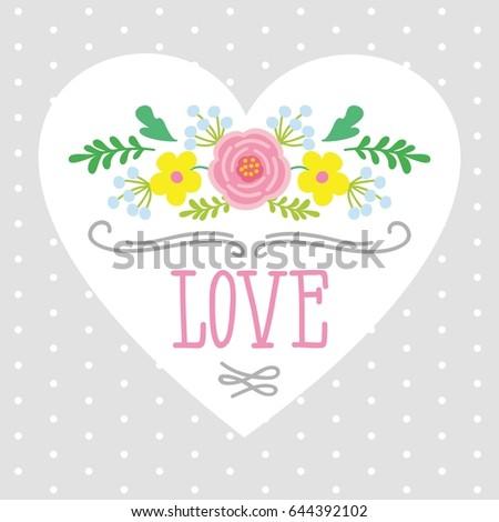 Illustration Heart Word Love Framed By Stock Illustration 644392102 ...