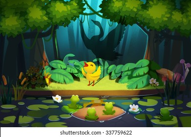 "Illustration: ""Hello, Friends, I'm little ugly duckling!"" ""No, You are a Beautiful Swan!""  Realistic Fantastic Cartoon Style Scene / Wallpaper / Background Design."