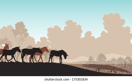 Illustration of a herd of zebra or ponies at a watering hole with a waiting crocodile