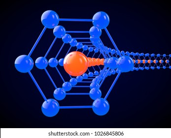 Illustration of a hexagon-shaped graphene molecule. The crystal lattice of graphene, the molecular form of carbon on a black background. 3D rendering. Super battery and superconductor of the future.