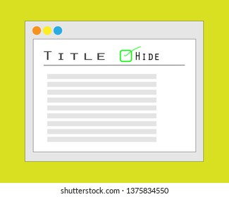Illustration of Hide Title Post Website Concept