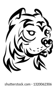 illustration of hideous pitbull dog tattoo over isolated white background