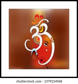 "Illustration of hindu lord Ganesha with hinduism symbol on decorative brown background-Graphical poster modern art wallpaper. The Symobol pronounced ""OM"" the most sacred mantra in hinduism"