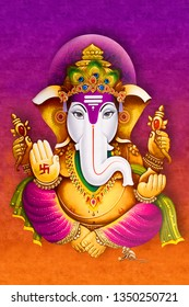 Illustration of hindu lord Ganesha on decorative purple texture background- Graphical poster modern art wallpaper