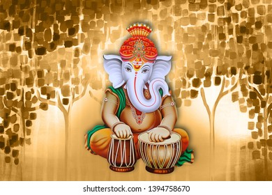 Illustration of hindu lord Ganesha on decorative texture abstract background- Graphical poster modern art 3D wallpaper