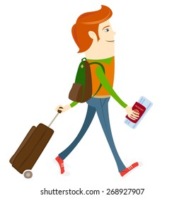 illustration Hipster-traveler walking and holding passport, ticket and suitcase