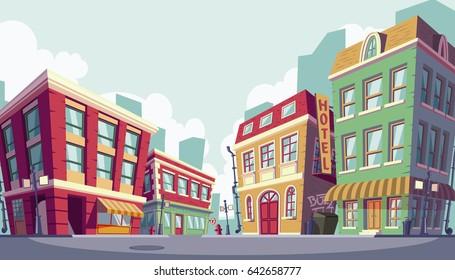 illustration of the historic urban area, banner cartoon style