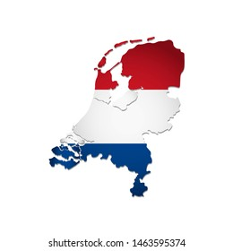 Illustration with Holland  national flag with simplified  shape of Netherlands map (jpg). Volume shadow on the map