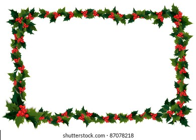 Illustration of holly leaves and berries in a frame