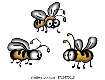 illustration of honey bee on white background