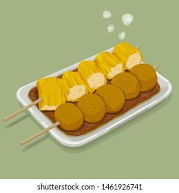 A illustration of hong kong style food -FishBall & Shu Mai
