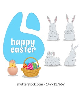 Illustration of Horizontal Blue Happy Easter Background with 4 Bunnies a Chick and Eggs Basket isolated on a white background