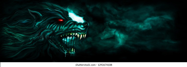 Illustration horror background with a roaring werewolf and the moon in the night sky