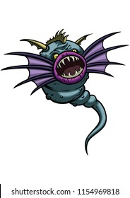 Illustration horror creature with fins like wings, teeth, and a tail