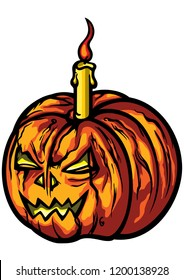 Illustration a horror halloween pumpkin with a burning candle