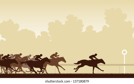 Illustration of a horse race with one horse and jockey about to win