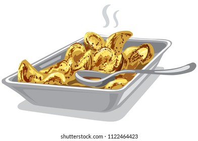 illustration of hot roasted cooked potatoes in plate