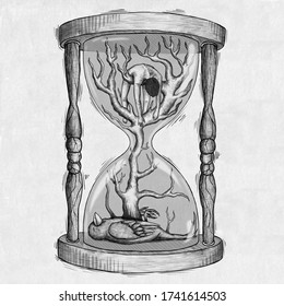 Illustration of hourglass with man, bird and trees.
