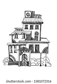illustration with house, Dollhouse for children