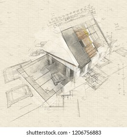 Illustration of House with exposed roof layers on top of architect blueprints.