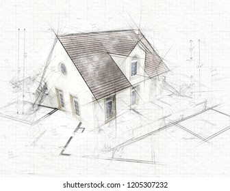 Illustration of House on top of architect blueprints