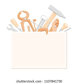 Illustration of household tools. Tools composition for banner. Background with tools for a logotype. Handyman's tools for a business card. Contents of a tool box for a master class flyer.