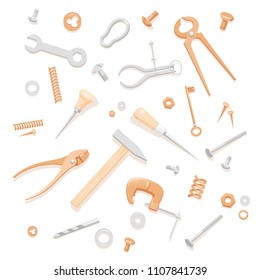 Illustration of household tools. Tools composition for banner. Pattern with tools for a logotype. Handyman's tools for a business card. Contents of a tool box for a master class flyer.