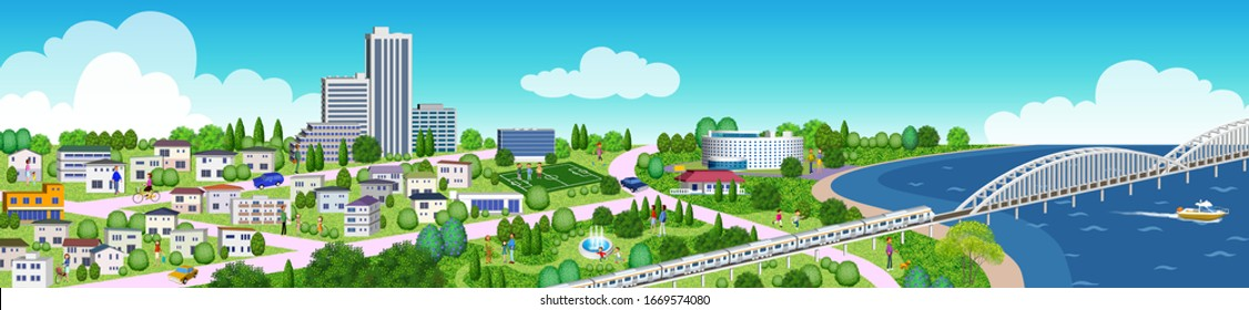 Illustration of houses and buildings, 3D artwork
