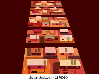 Illustration of houses viewed from above in Earthy desert colors.