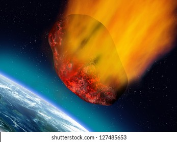 Illustration of a huge asteroid plummeting towards the earth
