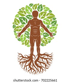 illustration of human being created as continuation of tree with strong roots and composed using natural green tree corona with leaves. Greenman, pagan god metaphor.