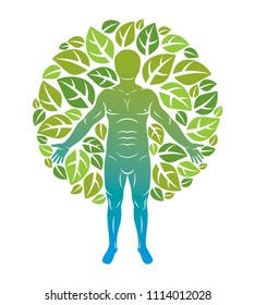 illustration of human being standing on white background and made using natural green leaves. Greenman, pagan god metaphor.