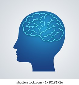 Illustration Human body brain icon silhouette on blue background.