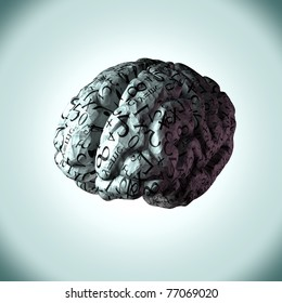 Illustration of a human brain made from crumpled paper with numbers and equations on it. Concept of how a persons mind calculates and handles mathematical sums and problems.