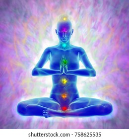 Illustration of human energy body silhouette with aura and chakras in meditation