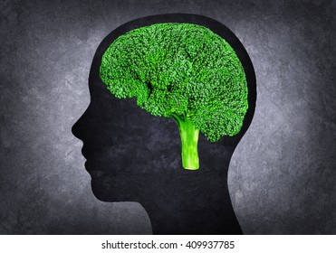 Illustration of human head with brain instead broccoli