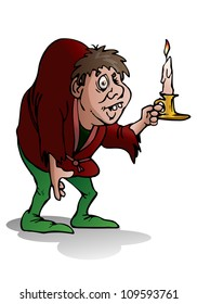 illustration of a hunchback man hold candle on isolated white background