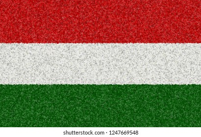 Illustration of a Hungarian flag with a blossom pattern