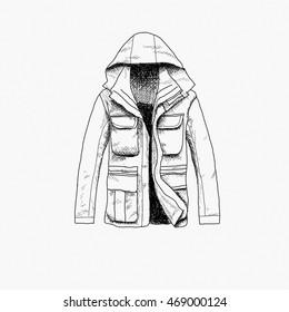 Illustration of hunting polar jacket isolated